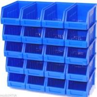 10 BLUE SIZE 2 STORAGE BINS WALL OR STACK GARAGE HOME WORKSHOP Plastic Parts Bins