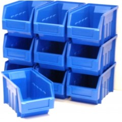 10 BLUE STACKING STORAGE PARTS BINS FOR GARAGE STORAGE BOX Plastic Parts Bins