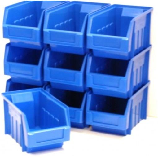 10 BLUE STACKING STORAGE PARTS BINS FOR GARAGE STORAGE BOX Plastic Parts Bins